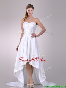 Lovely High Low Wedding Dresses with Hand Crafted and Ruching