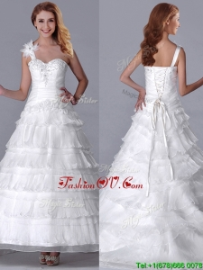 New Style One Shoulder Organza Brush Train Wedding Dress with Beading and Ruffled Layers