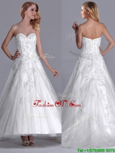 Popular A Line Brush Train Tulle Zipper Up Bridal Dress with Beading and Lace
