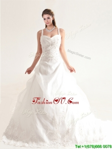 Popular Spaghetti Straps Court Train Wedding Dresses with Beading and Appliques