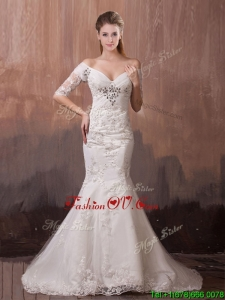 Unique V Neck Half Sleeves Mermaid Wedding Dress with Beading and Lace for 2016