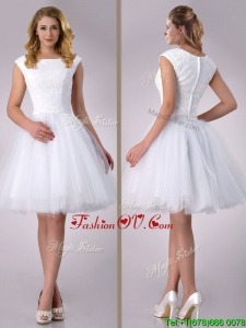 2016 Beautiful Scoop Cap Sleeves Short Lace Wedding Dress in Tulle