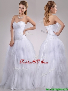 2016 Plus Size A Line Sweetheart Tulle Wedding Dress with Beading