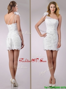 2016 Wonderful One Shoulder Lace Short Wedding Dress with Beading