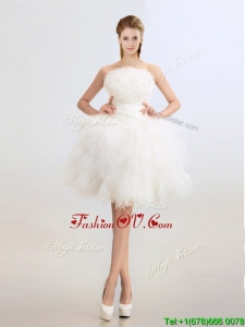 Artistic Beaded and Ruffles Wedding Dresses with Knee Length