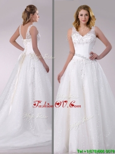 Beautiful A Line V Neck Court Train Bridal Dress with Beading and Sequins