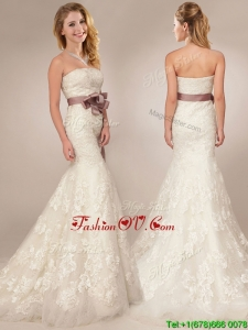 Classical Mermaid Strapless Side Zipper Wedding Dresses with Lace and Sashes