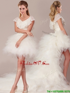 Designer Laced and Ruffled Detachable Wedding Dresses with High Low