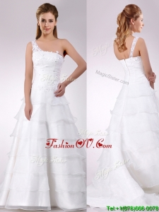 Designer One Shoulder Beaded and Ruffled Layered Zipper Up Wedding Dress with Brush Train
