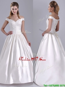 Exquisite Ball Gown Off the Shoulder Brush Train Beaded Bridal Dress in Satin