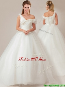 Fashionable Asymmetrical Wedding Dresses with Beading and Ruching