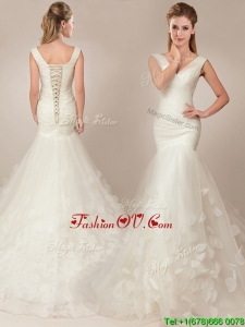 Flirting Fitted Mermaid Deep V Neckline Wedding Dresses with Appilques and Ruching