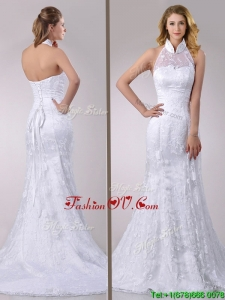 Most Popular Halter Top Mermaid Lace Bridal Dress with Brush Train for 2016