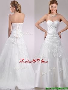 Plus Size Be-ribboned Beaded and Applique Wedding Dress with Brush Train