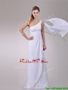 Plus Size Chiffon Watteau Train One Shoulder Wedding Dress with Beading