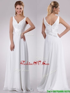 Plus Size Empire V Neck Chiffon Beaded Wedding Dress with Sweep Train