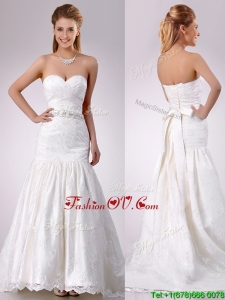 Plus Size Mermaid Beaded and Bowknot Laced Wedding Dress with Brush Train