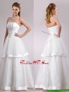 Plus Size Strapless A Line Beaded Long Wedding Dress in Tulle