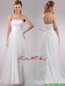 Plus Size Strapless Brush Train Wedding Dress with Handcrafted Flowers