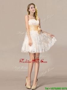 Pretty Chamagne Mini Length Wedding Dresses with Bowknot and Embroidery