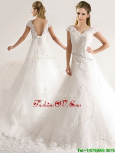 Romantic Laced and Applique Short Sleeves Wedding Dresses with Court Train