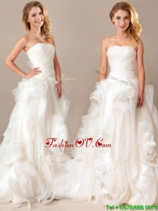 Simple Ball Gown Sweetheart Ruched and Rolling Flowers Wedding Dresses with Brush Train