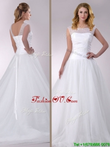 Wonderful A Line Scoop Court Train Tulle Wedding Dress with Beading