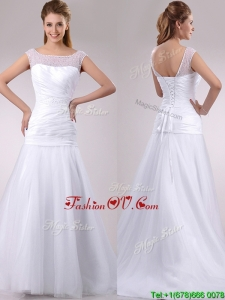 Wonderful Column Cap Sleeves Beaded and Ruched Wedding Dress in Tulle