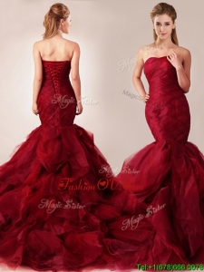 Classical Mermaid Sweetheart Tulle Ruffles Wedding Dresses in Wine Red