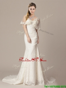 Gorgeous Mermaid V Neck Court Train Short Sleeves Wedding Dresses with Lace and Appliques