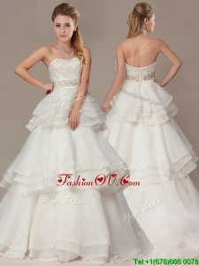 Plus Size A-line Brush Train Wedding Dresses with Beading and Ruffles Layers