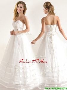 Plus Size A-line Organza Wedding Dresses with Handle Made Flower and Ruching