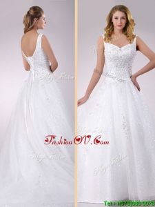 Plus Size Classical Straps Beaded Tulle Wedding Dress with Court Train