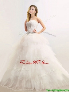 Plus Size Sophisticated Strapless Feathered and Beaded Wedding Dresses in Tulle