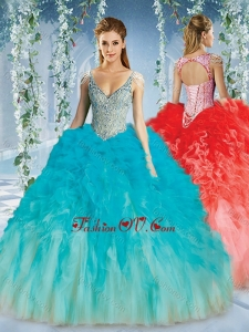 2016 Beautiful Deep V Neck Big Puffy Quinceanera Dress with Beaded Decorated Cap Sleeves