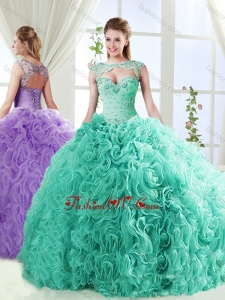 2016 Big Puffy Brush Train Quinceanera Dresses with Beading and Appliques