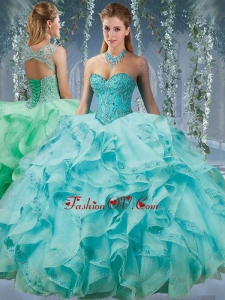 2016 Classical Beaded and Applique Big Puffy Quinceanera Dress in Aqua Blue