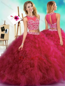2016 Classical Beaded and Ruffled Fuchsia Quinceanera Dress with See Through