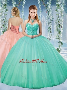 2016 Discount Taffeta Beaded Puffy Skirt Quinceanera Dress in Turquoise