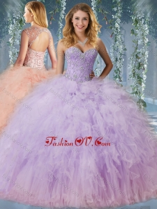 2016 Exclusive Beaded and Ruffled Quinceanera Dress with Detachable Straps