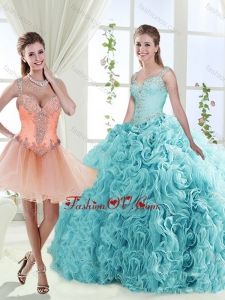 2016 Gorgeous Beaded Straps Detachable Quinceanera Dresses with See Through Back