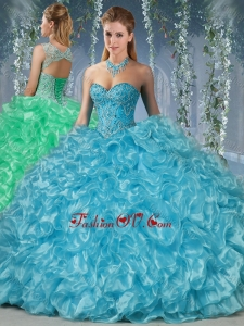 2016 Gorgeous Beaded and Ruffled Big Puffy Quinceanera Dress in Aque Blue