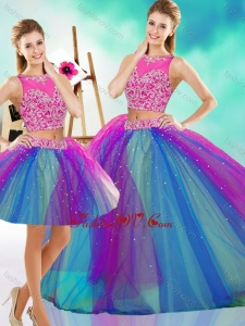 2016 Lovely Beaded Scoop Tulle Detachable Quinceanera Dress in Rainbow Colored