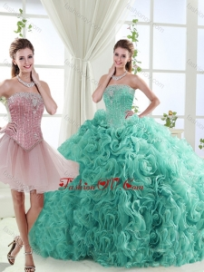 2016 Popular Beaded Big Puffy Detachable Quinceanera Dresses in Rolling Flower