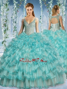 2016 Popular Deep V Neck Big Puffy Quinceanera Dress with Beaded Decorated Cap Sleeves