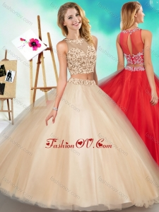 2016 Two Piece See Through Scoop Quinceanera Dress with Beading and Appliques