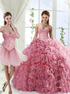 Best Beaded and Rolling Flowers Quinceanera Dresses with Brush Train