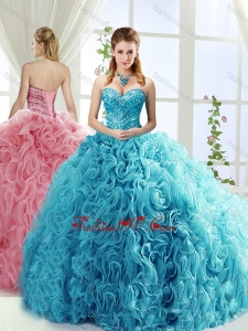 Best Rolling Flowers Brush Train Detachable Quinceanera Gowns with Beading
