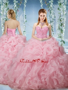 Best Baby Pink Brush Train Quinceanera Dresses Beaded and Ruffled