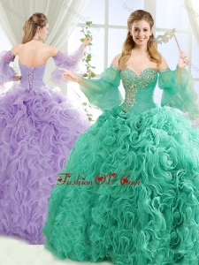 Best Beaded Big Puffy Detachable Quinceanera Dresses with Brush Train
